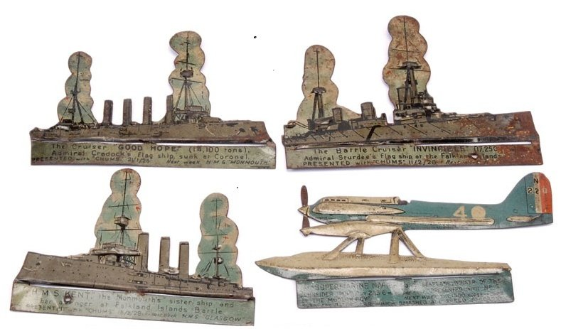 Tin game pieces from 1915 representing HMS Kent, and Cruisers Good Hope and Invincible