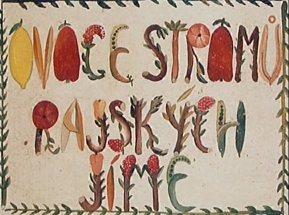 A frame from the title sequence for Chytilová's The Fruit of Paradise, which might be the work of the film's poster designer Eva Švankmajerová.