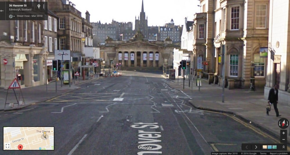 Hanover St, Edinburgh Scotland: Google Maps, March 2010