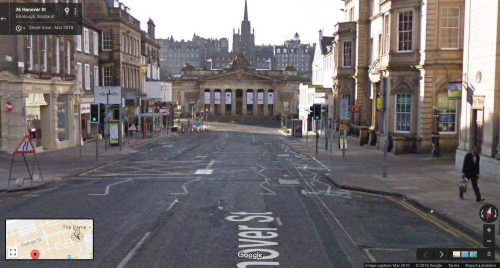 Hanover St, Edinburgh Scotland: Google Maps, March 2010