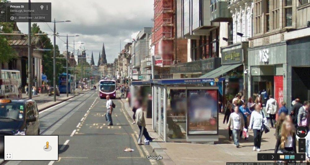 Princes St, Edinburgh, Scotland: Google Maps. July 2014
