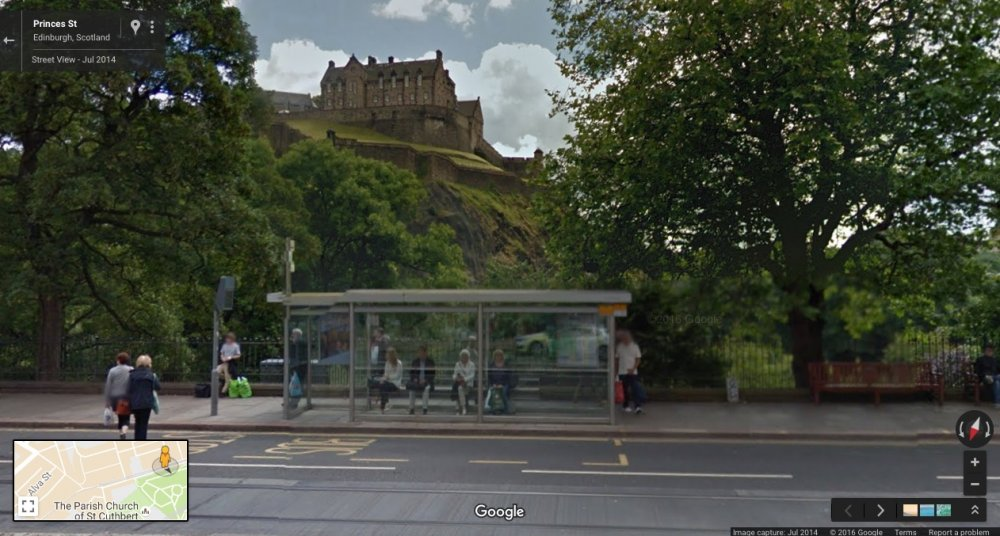Princes St, Edinburgh, Scotland: Google Maps. July 2014