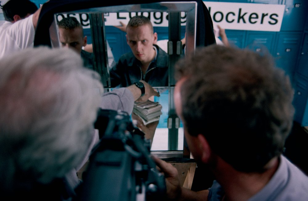 Filming from the inside of a locker, with Ewan Bremner