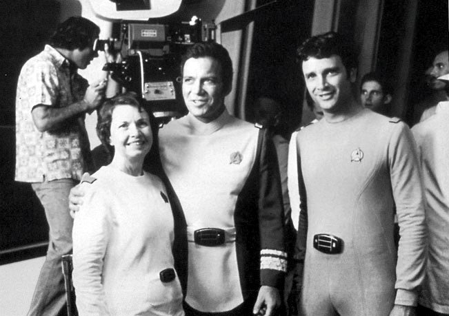 Bjo Trimble on the set of Star Trek with William Shatner and David Gerrold