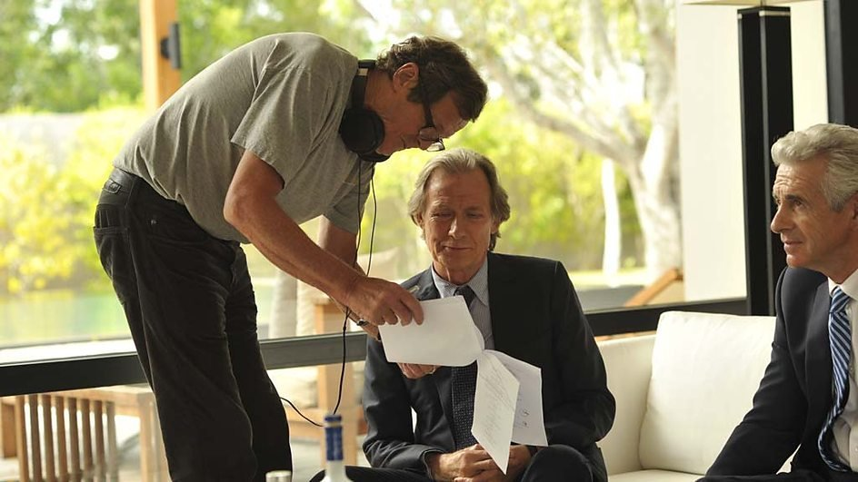 "Hare directing Bill Nighy on location for Turks <span class=""amp"">&</span> Caicos"