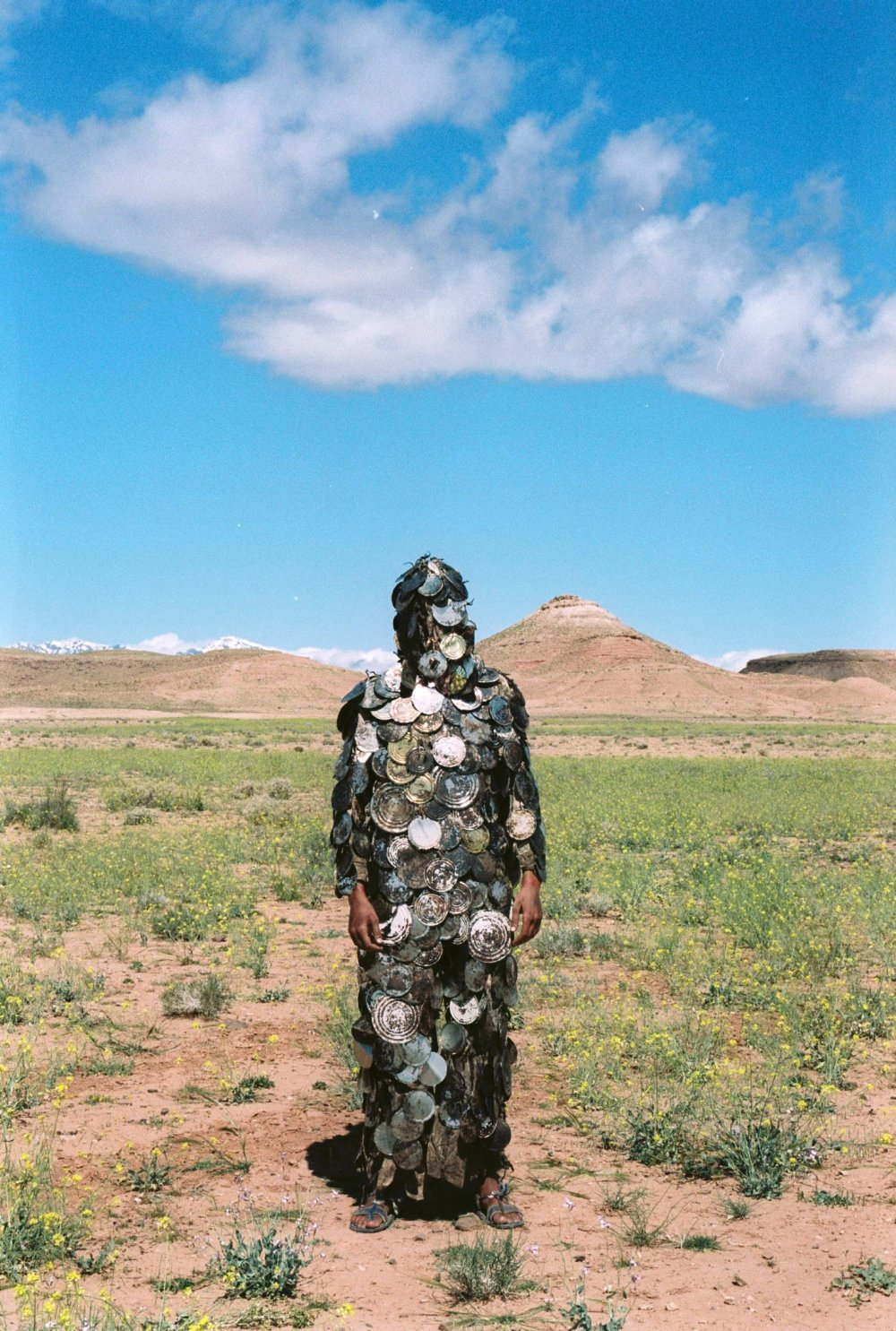 An actor in the tin suit from Ben Rivers' film version of Paul Bowles' A Distant Episode