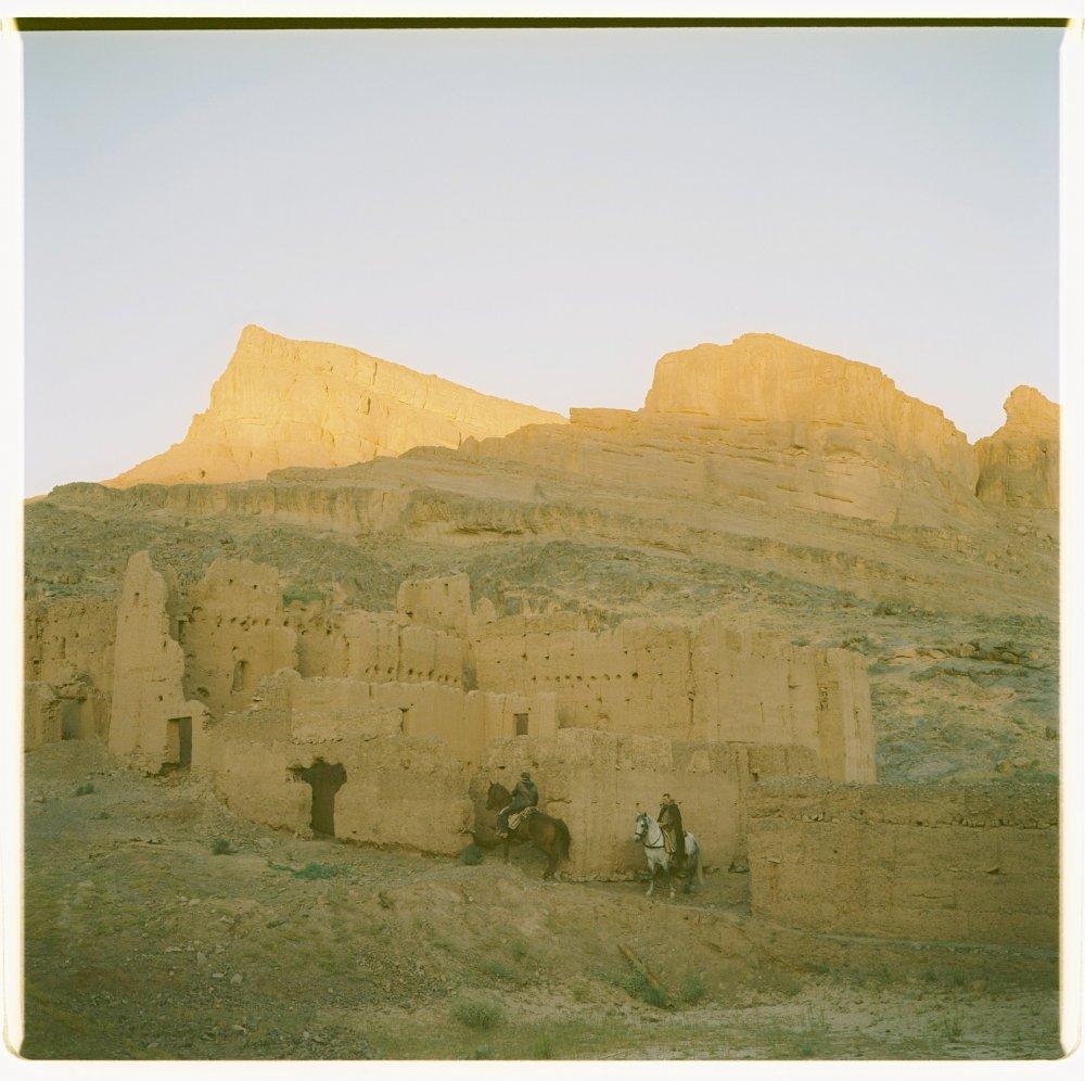 Horseback riders in Morocco's Atlas Mountains