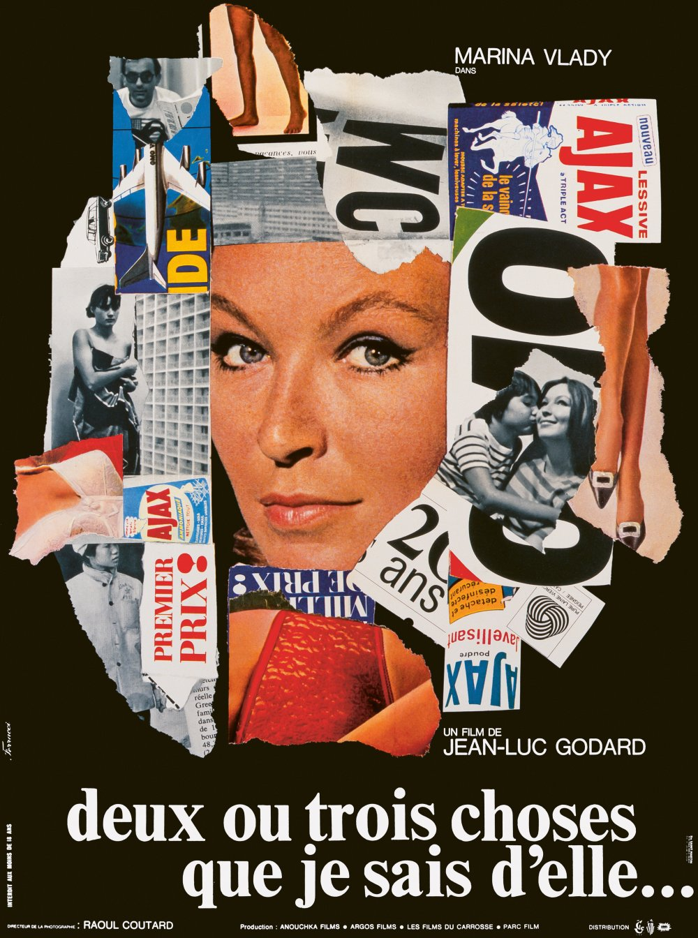 <strong>2 or 3 Things I Know about Her (1967) poster. René Ferracci, France. </strong>Like a half-torn billboard advertisement, this French poster for 2 or 3 Things I Know about Her uses collage to quote elements from Godard's film. There's a clear parallel between Godard's cutup montage and the act of collage itself. 'It's the quintessential movie poster of the French New Wave,' says Nourmand. 'It has all of the qualities that I'm trying to show in the book – they're using techniques like photomontage, and also these brands you see in the poster like AJAX; it's almost like Warhol using Coca-Cola. A lot of these references were in the movie too, of course. The idea of it – for both Godard and Ferracci, I imagine – comes from those early pop art pieces by Rauschenberg and Warhol, where they were using everyday objects and using them in the artworks – the American flag, Coca-Cola cans, Campbell's soup cans.'