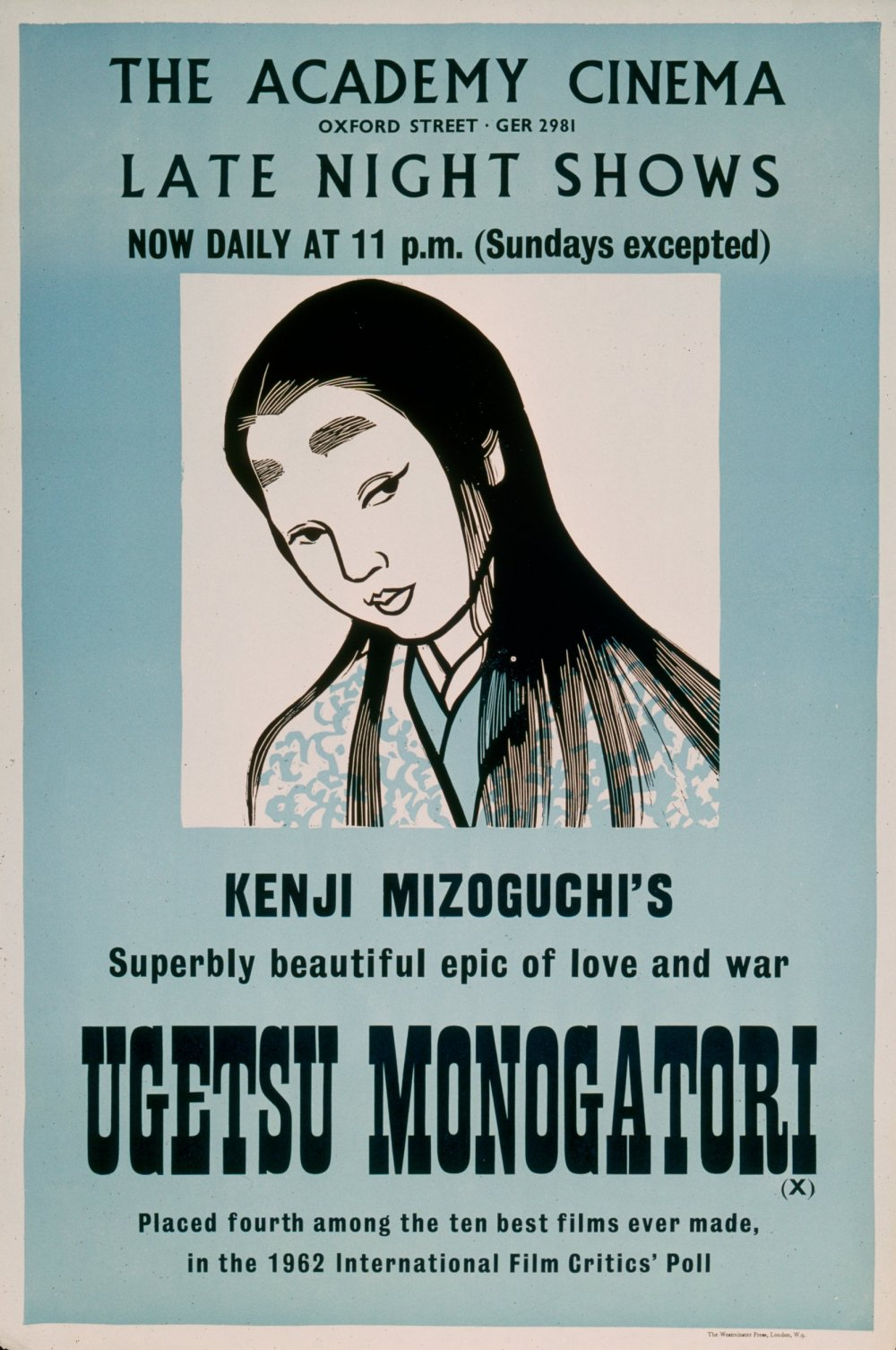 The London Academy Cinema 's poster for Ugetsu Monogatari