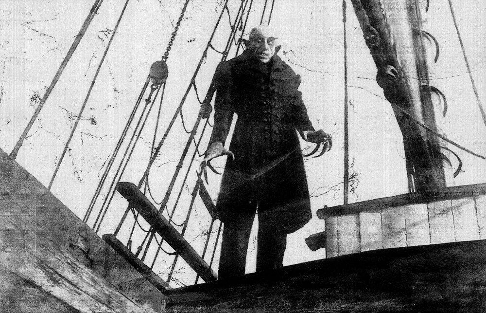 A manipulated still from Nosferatu (1922)