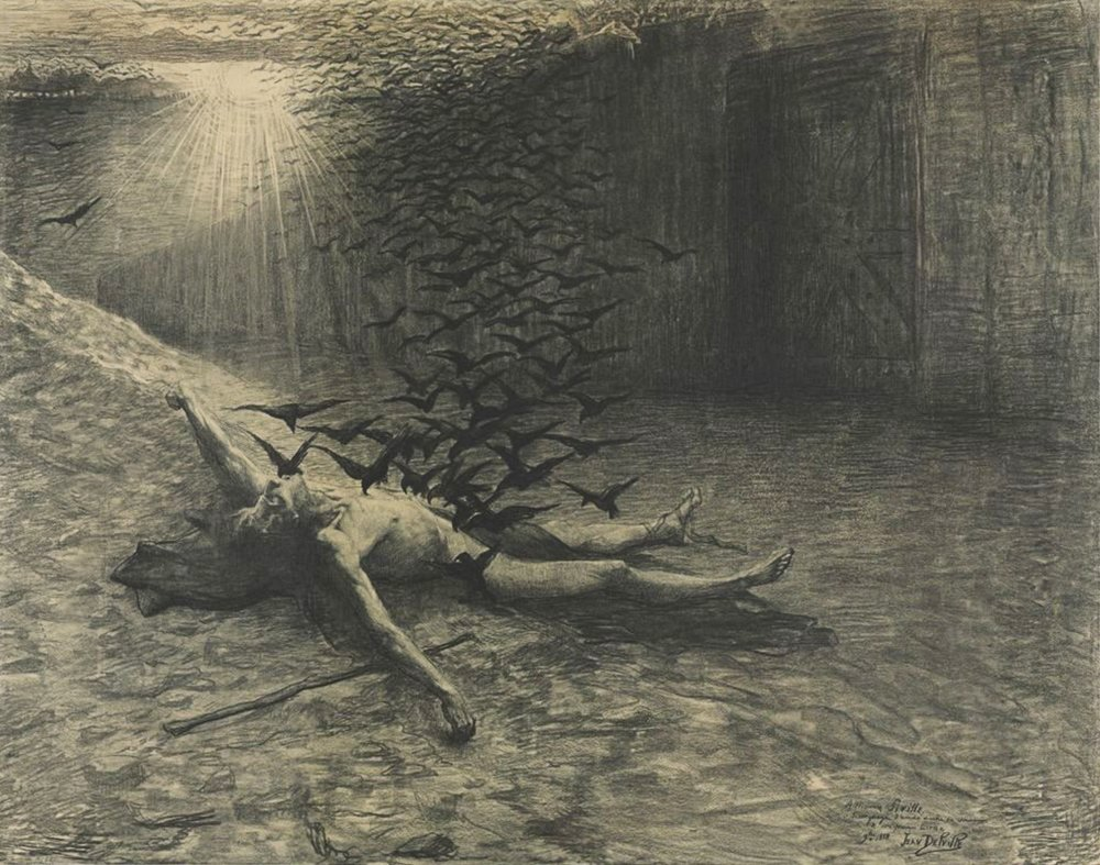 The Lighthouse evokes this untitled 1888 drawing by Belgian artist Jean Delville