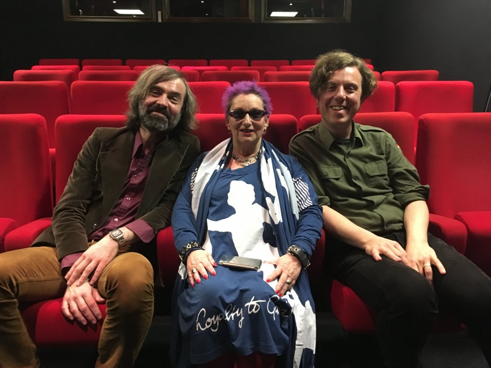 Video producer Vic Pratt and curator Will Fowler with punk icon Jordan. The photo was taken after filming an interview with the Jubilee star, which will feature on the first Jarman box set