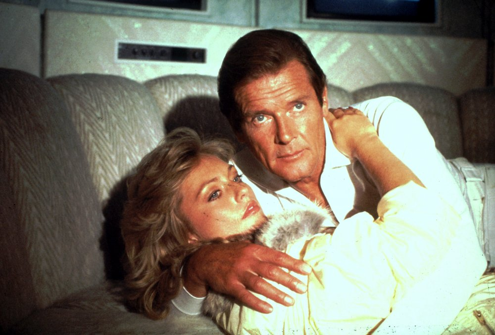 Roger Moore and Mary Stavin in A View to a Kill (1985)