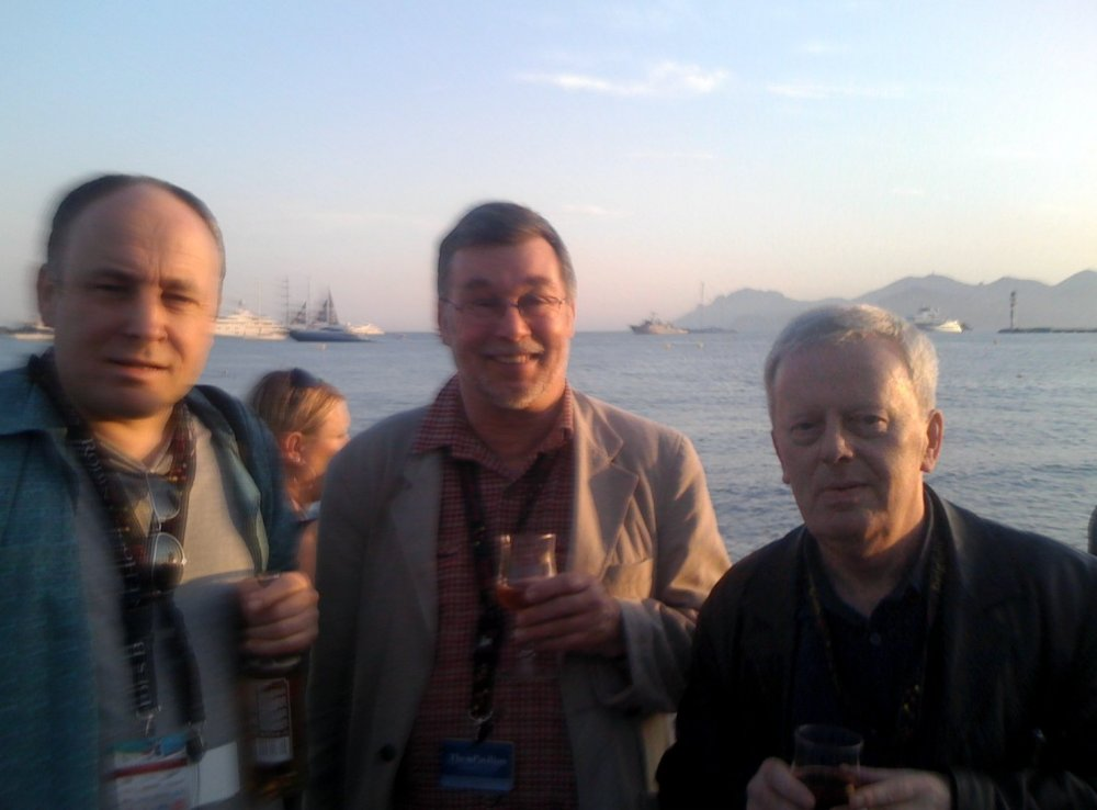 Peter Walsh (right) with the Bristol Watershed's Mark Cosgrove (left) and Tony Jones of the Cambridge Film Trust.
