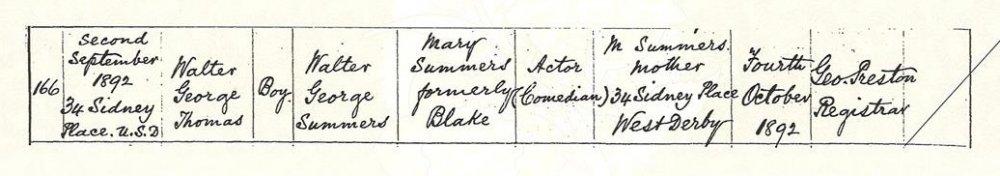 Walter Summers' birth certificate