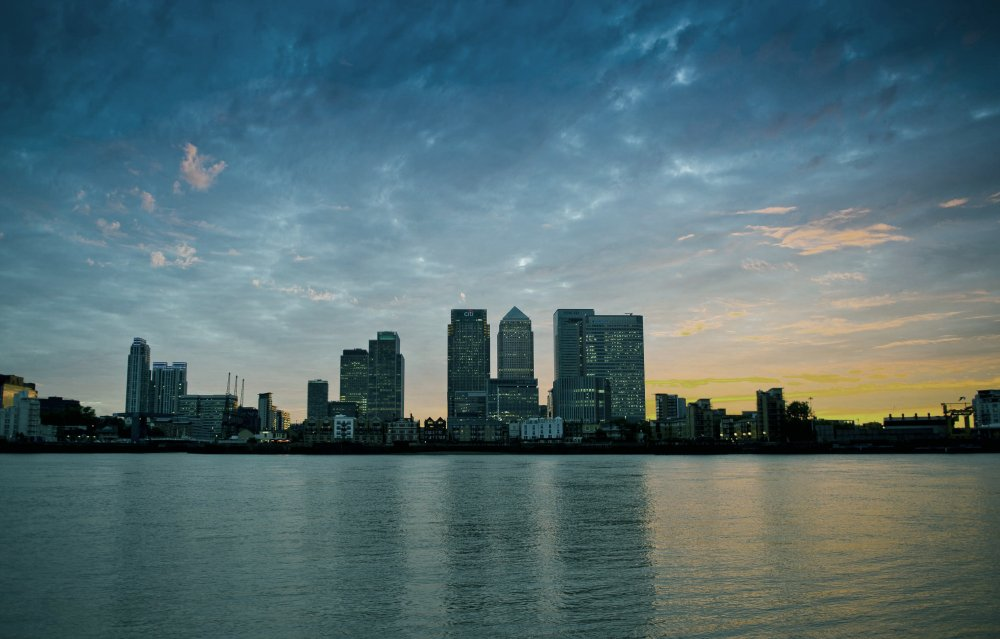 The Canary Wharf skyline in Welcome to the Punch