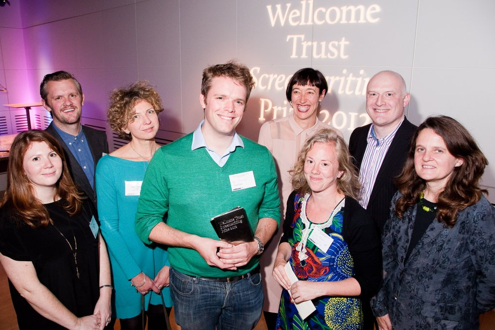 Winner Al Smith and runner-up Sam Firth with Ben Roberts (top left), Clare Matterson (bottom right) and the jury