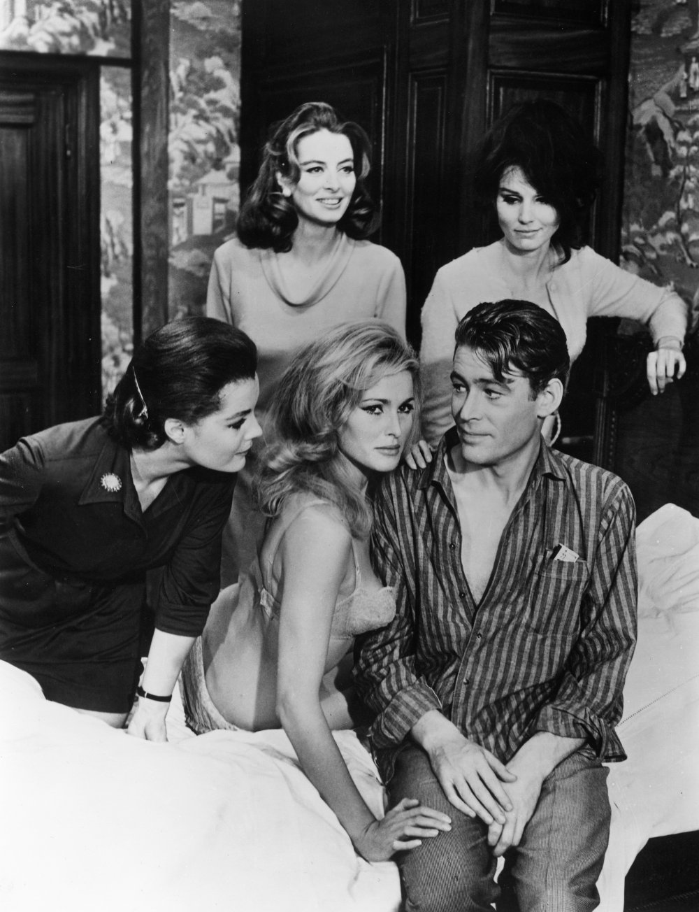 Playing an arch womaniser in the company of Romy Schneider, Paula Prentiss, Capucine and Ursula Andress in the 1965 sex comedy What's New Pussycat?, written by Woody Allen
