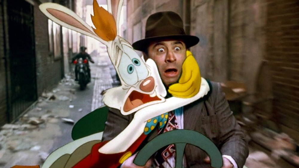 Roger Rabbit with Bob Hoskins as Eddie Valiant in Who Framed Roger Rabbit