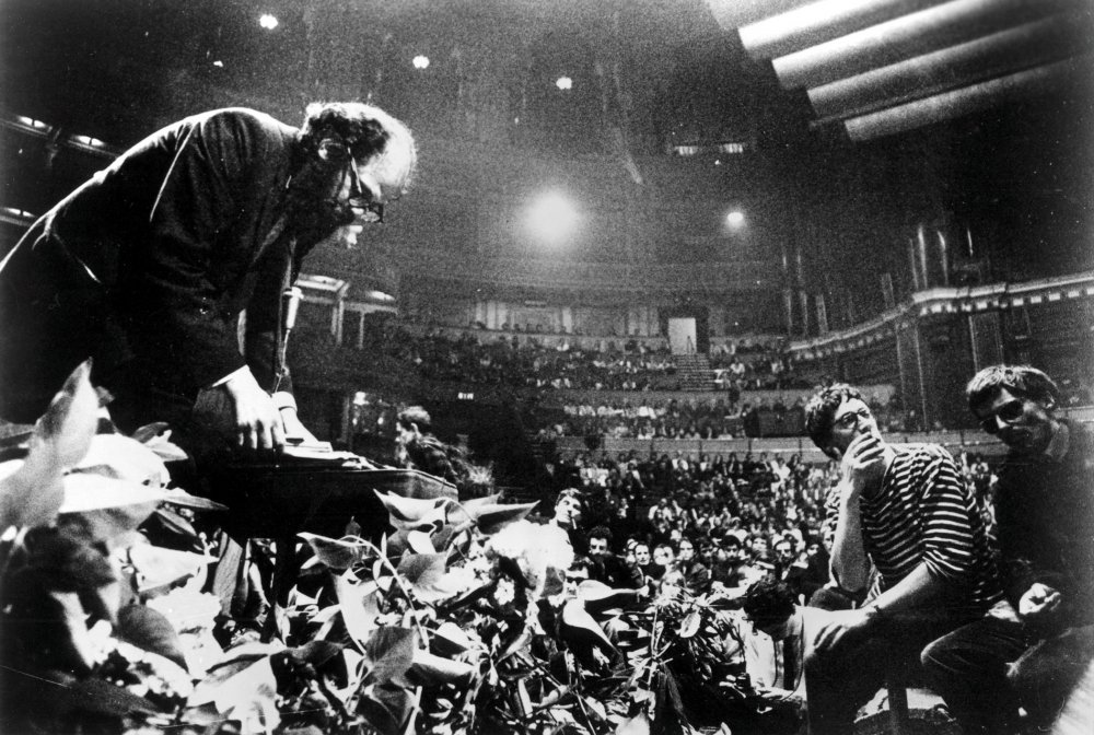 Allen Ginsberg on stage at the Royal Albert Hall in Peter Whitehead's Wholly Communion (1965)