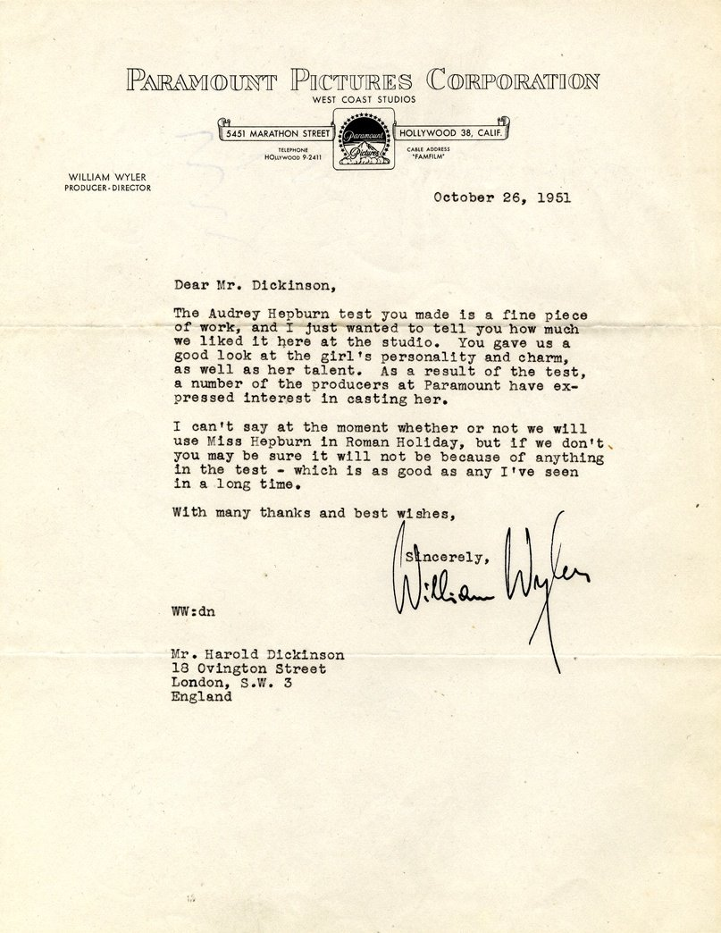 Letter from William Wyler to 'Harold' [Thorold] Dickinson regarding the casting of Audrey Hepburn for Roman Holiday (26 October 1951)