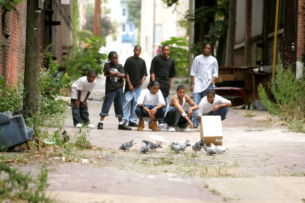 Namond (Julito McCullum), Michael (Tristan Wilds) and Randy (Maestro Harrell), in the foreground, are the focus of season four