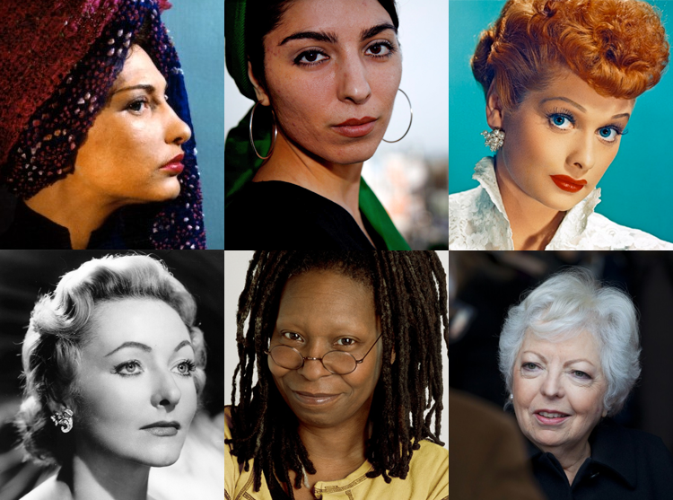 Clockwise from top left: Maya Deren, Samira Makhmalbaf, Lucille Ball, Thelma Schoonmaker, Whoopi Goldberg and Julie Harris