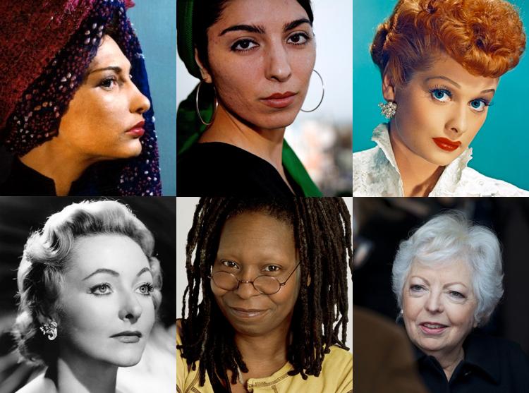 Clockwise from top left: Maya Deren, Samira Makhmalbaf, Lucille Ball, Thelma Schoonmaker, Whoopi Goldberg and Julie Harris