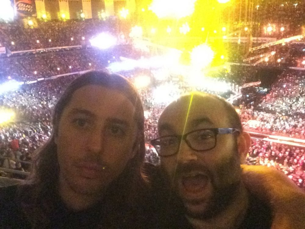 Robert Greene (right) with fellow documentary filmmaker Bill Ross at WrestleMania 2014