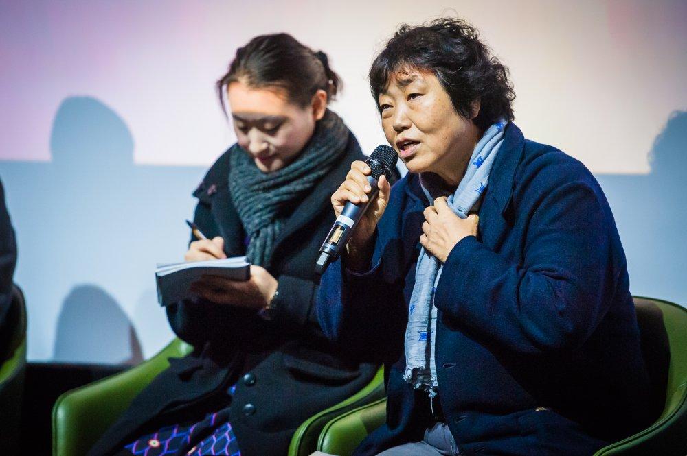 Forever the Moment's Yim Soon-rye speaking at the London Korean Film Festival