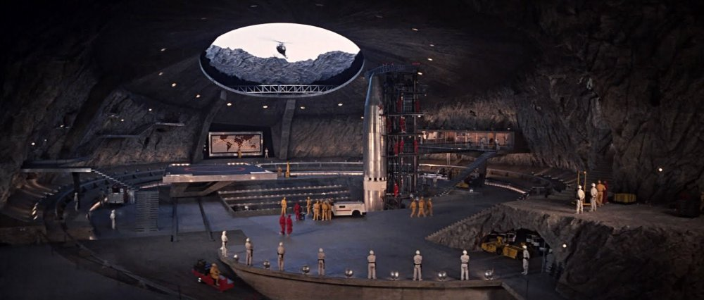 You Only Live Twice (1967): Blofeld's volcano-crater lair, in execution (above) and design (below)