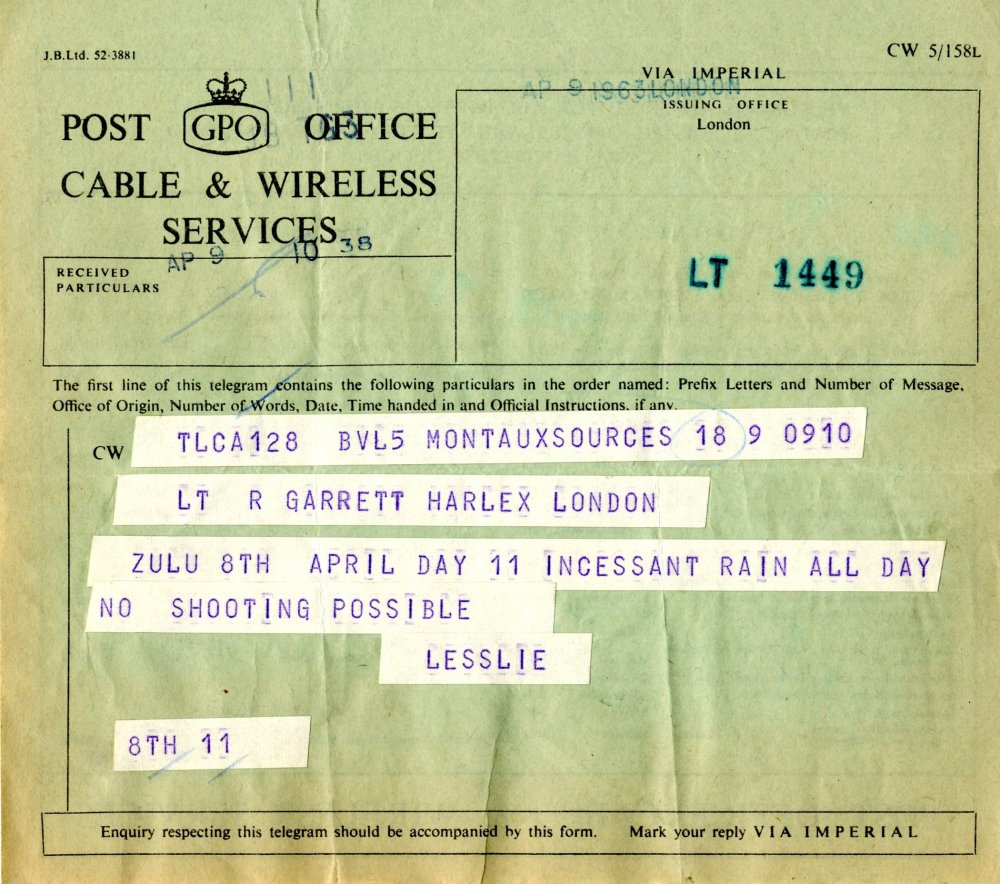 Day 11: incessant rain all day. A telegram from the production of Zulu.