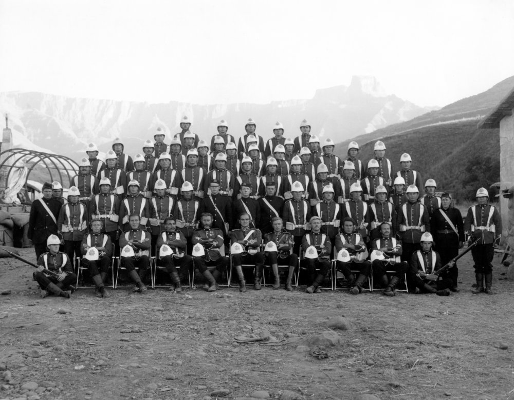 Say 'cheese'! A group portrait of the actors playing the British army regiment who find themselves struggling to fend off an attack from 4,000 Zulu warriors at Rorke's Drift.