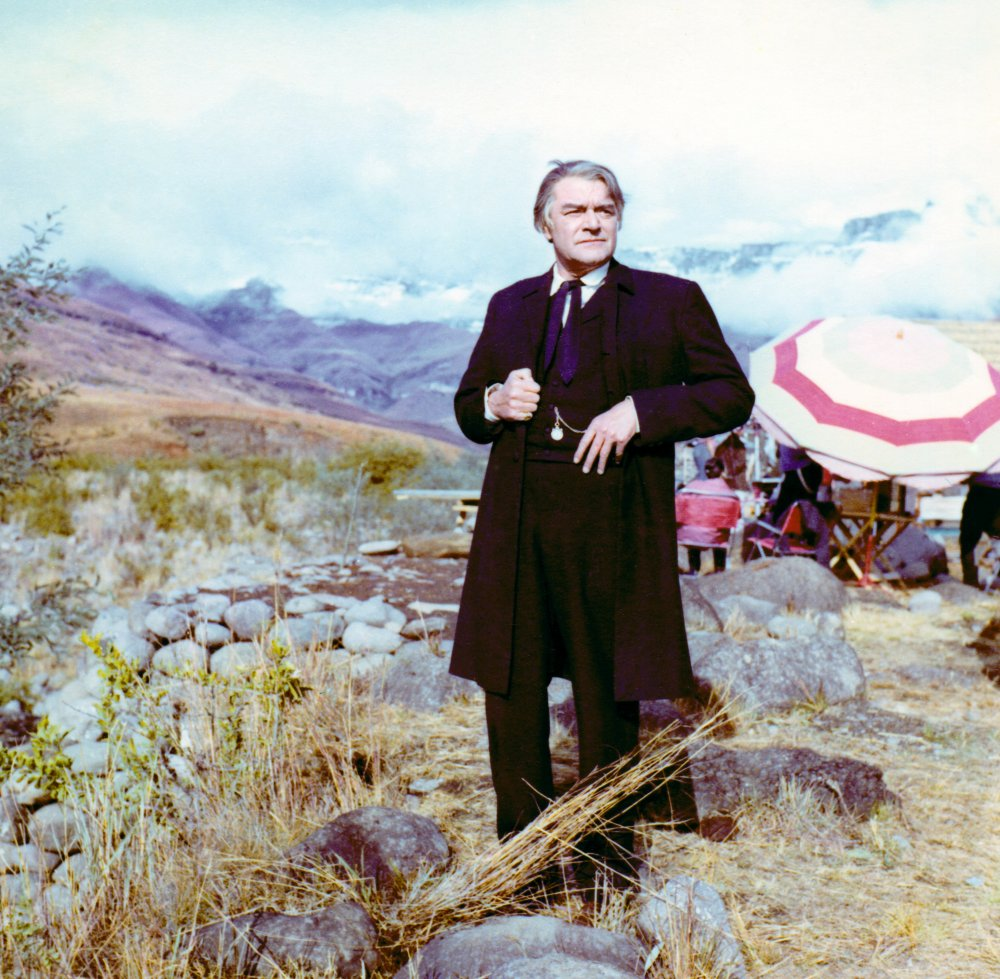 The great character actor Jack Hawkins in costume between takes. Hawkins plays Reverend Otto Witt, a Swedish missionary stationed at Rorke's Drift.