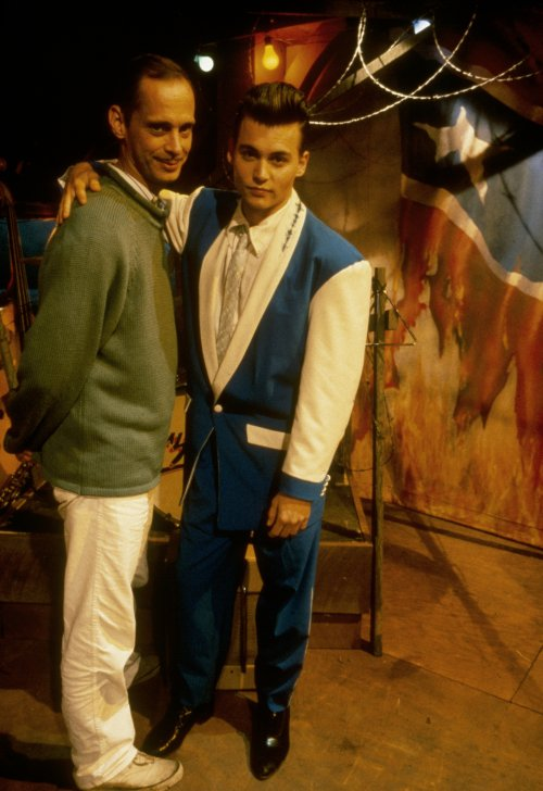 John Waters and Johnny Depp on the set of Cry Baby (1990)