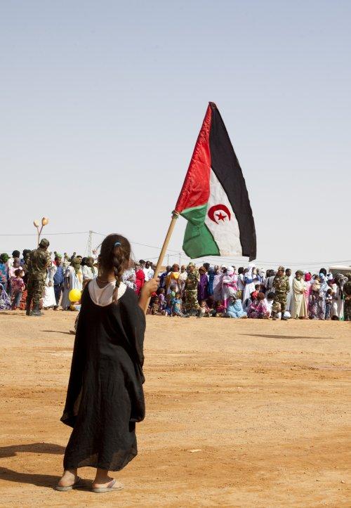 A girl waves a Sahrawi flag at FiSahara's opening parade