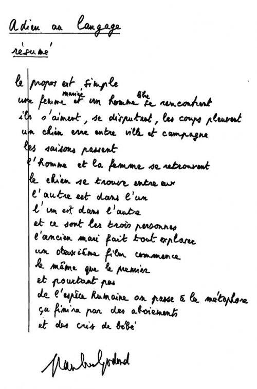 Jean-Luc Godard's written synopsis for Goodbye to Language (Adieu au langage, 2014)