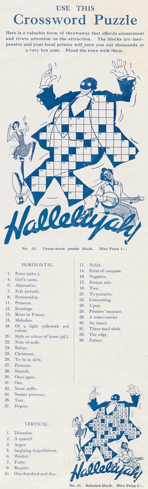 Hallelujah (1929) press book crossword