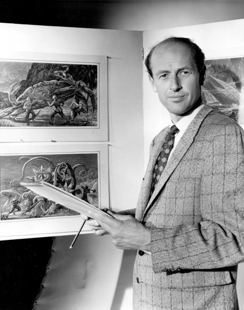 Harryhausen with sketches for Mysterious Island (1961)