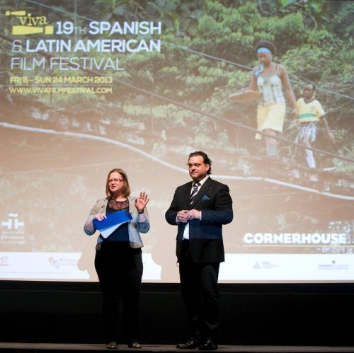Rachel Hayward on stage at the ¡Viva! Spanish and Latin American Film Festival