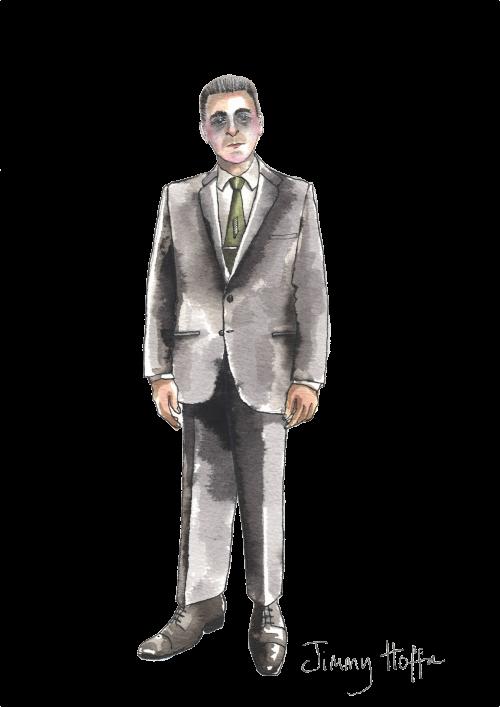 Sandy Powell's costume design sketch for Jimmy Hoffa in The Irishman (2019)