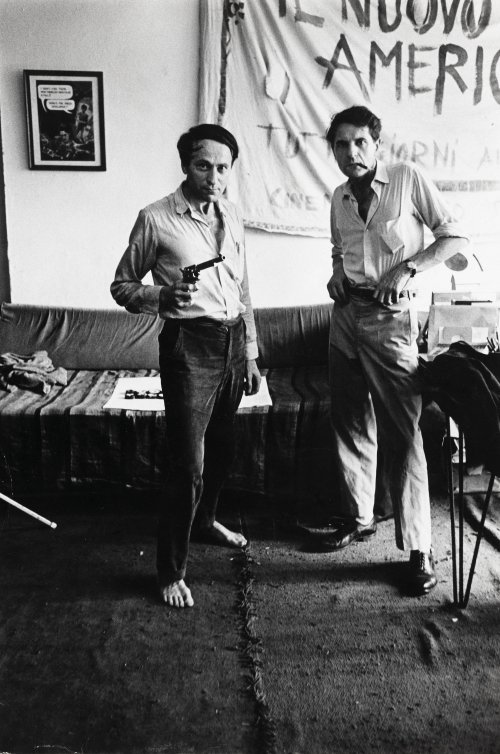 Jonas Mekas and his brother Adolfas at the Film-Makers' Cooperative (1962)