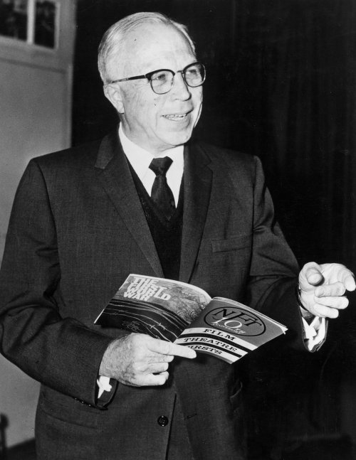 King Vidor with the National Film Theatre 10th anniversary programme in his hands