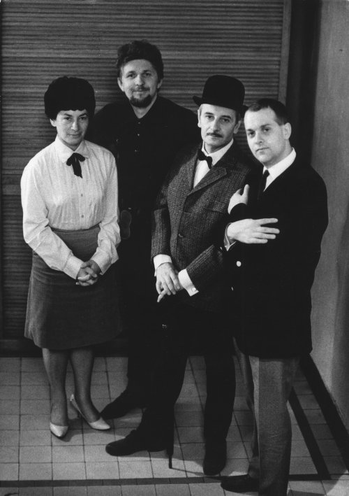 Right to left: Němec with his actor Lindsay Anderson, DP Miroslav Ondříček and an unidentified woman making Martyrs of Love in 1967
