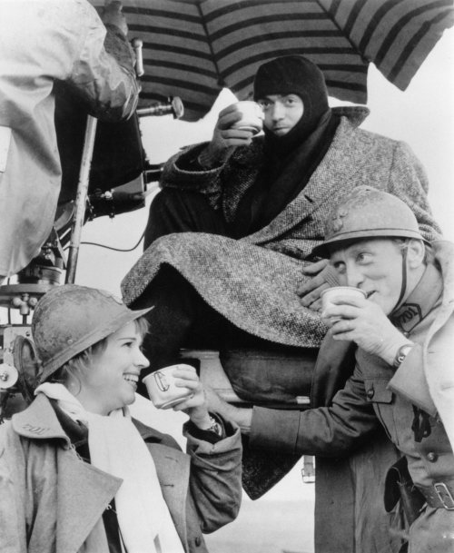 Christiane and Stanley Kubrick with Kirk Douglas (right) on location for Paths of Glory (1957)