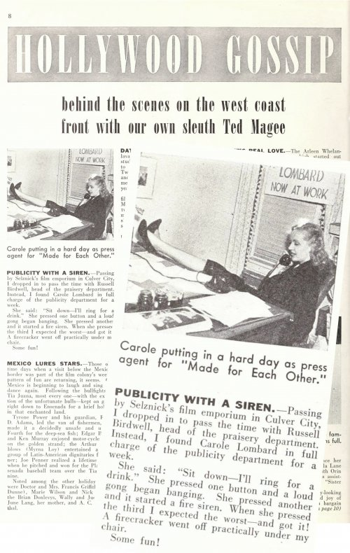 Carole Lombard running the phone line for the MGM publicity department as depicted in the Hollywood Gossip column of Picture Play