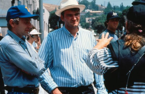Quentin Tarantino and crew during production of Reservoir Dogs (1992)