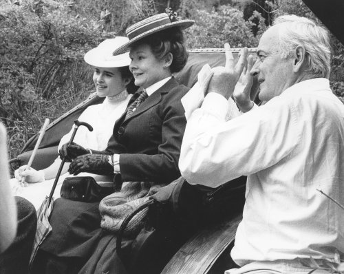 James Ivory filming A Room with a View (1985) with Helena Bonham Carter and Judi Dench