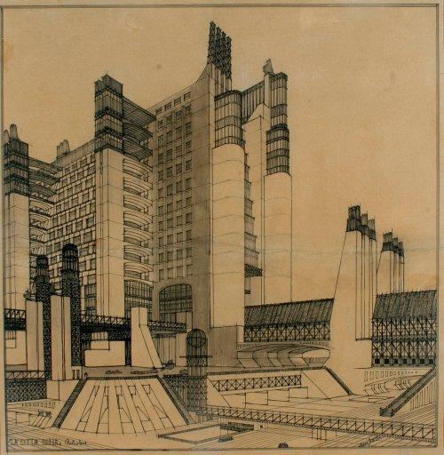 House with external elevators (1914), Antonio Sant'Elia