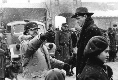 Steven Spielberg directing Liam Neeson in Schindler's List (1993)